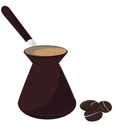 Coffee pot and beans vector