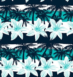 Tropical frangipani with palms and stripes vector