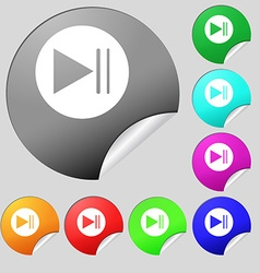 Play button icon set of eight multi colored round vector