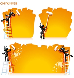 Ants painted banner vector