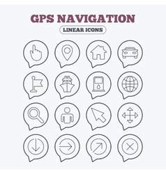 Gps navigation icons car and ship transport vector