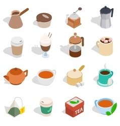Tea and coffee set isometric 3d style vector