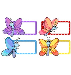 Dragonflies on square labels vector