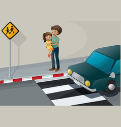 A father carrying his daughter at the pedestrian vector image vector image