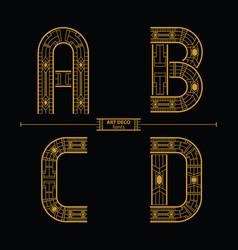 Alphabet art deco style in a set abcd vector