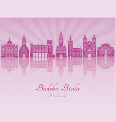Bielsko-biala skyline in purple radiant orchid vector
