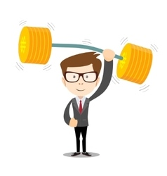 Businessman lifts up heavy barbell with dollar vector