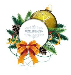 Christmas card with yellow bauble vector