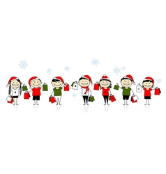 Christmas shopping with friends vector image
