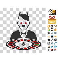 Hitler devil roulette croupier icon with bonus vector