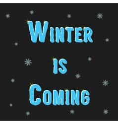 inscription winter is coming with snowflakes vector image vector image