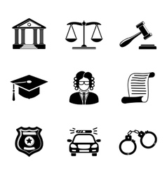 Law justice monochrome icons set vector image vector image