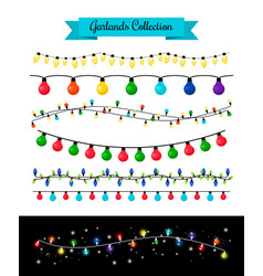 Light decoration christmas bulb garlands vector