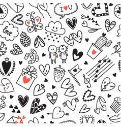 Love concept hand drawn romantic seamless vector