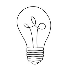 monochrome contour of light bulb with filament in vector image
