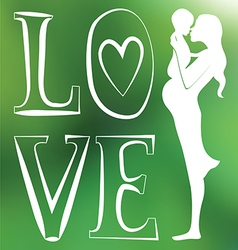 Mother with baby one color green blurred vector