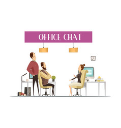 office chat cartoon style composition vector image