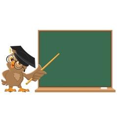 Owl teacher holding pointer at blackboard vector