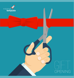 Red ribbon cutting vector