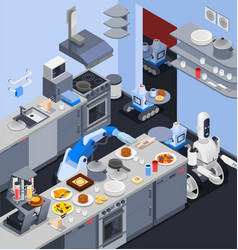robotic kitchen maid composition vector image vector image