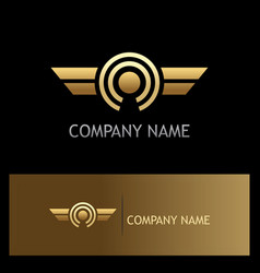round wing optic gold logo vector image