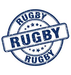 Rugby blue grunge round vintage rubber stamp vector