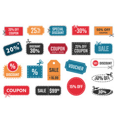 sale coupons discount banners and labels set vector image vector image