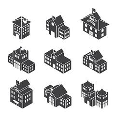 School building 3d isometric vector