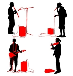 Set silhouettes musicians playing musical vector image