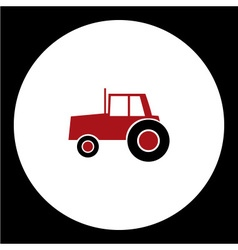 Simple red tractor car isolated icon eps10 vector