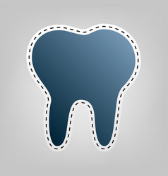 Tooth sign blue icon with vector