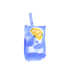 water with lemon cocktail colorful hand drawn vector image vector image