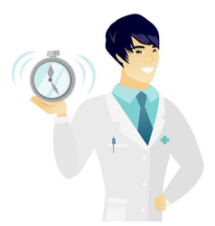 Young asian doctor holding alarm clock vector