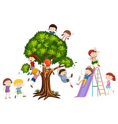 Children playing on tree and slide vector