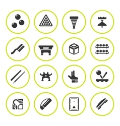 Set round icons of billiards snooker and pool vector