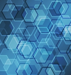 Abstract blue gradient background with hexagon vector