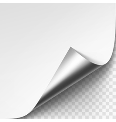 Curled silver metalic corner of white paper vector