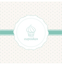 Cupcake label blue vector