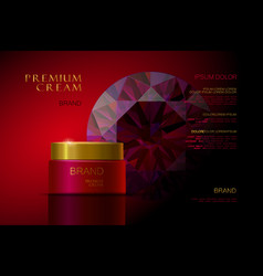 Premium cream red packaging for cosmetics skin vector