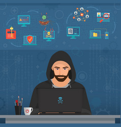 Hacker man hacking secret data on the laptop icon vector