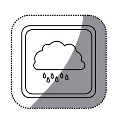 sticker monochrome square frame with cloud with vector image