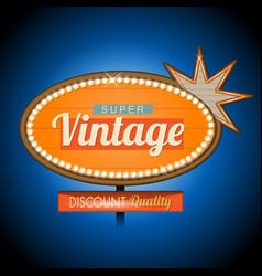 Retro vintage motel banner sign vector