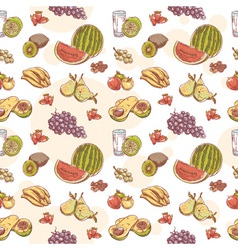 Fresh fruit hand drawn seamless pattern vector