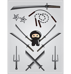 Collection of ninja weapon with cute ninja vector image