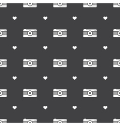 Flat hipster black and white cameras seamless vector