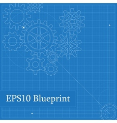 Blueprint with drawn gears vector