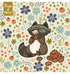 Funny little raccoon eating cookies vector image