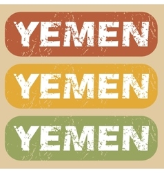 Vintage yemen stamp set vector
