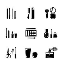 Set of monocrome makeup icons - mascara polish vector