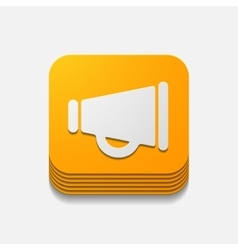 Square button megaphone vector